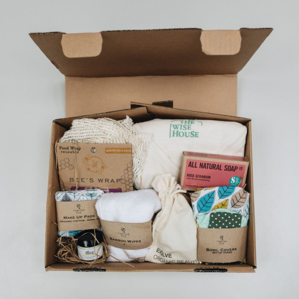 box of soap with wipes make up pads and beeswrap for corporate gifting