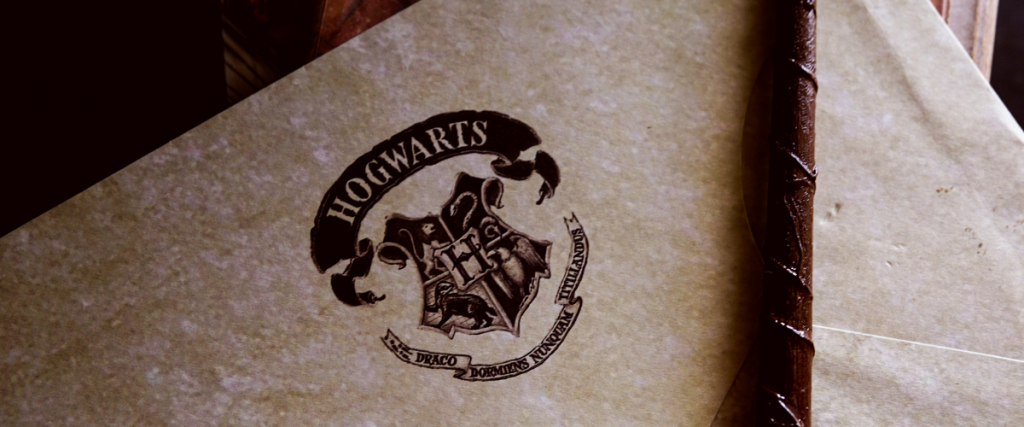 Piece of paper with Hogwarts logo