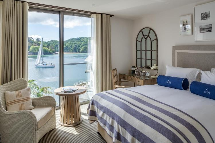 View of the sea from one of the guest rooms at the Salcombe Harbour Hotel & Spa.