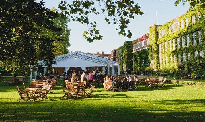 Regent's University outdoor summer venue, chairs and marquee set up/