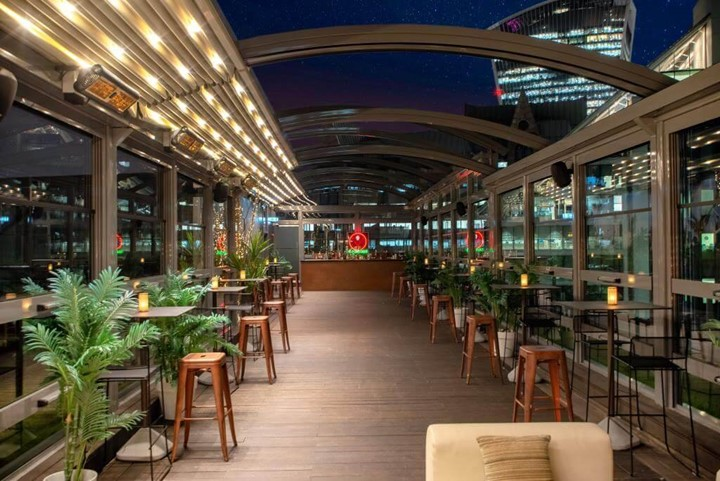 Modern rooftop over looking central London.